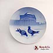 Bing Grondahl Pigeons In The Castle Court Christmas Plate 1921 Porcelain