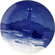 Bing Grondahl Lighthouse In Danish Waters Christmas Plate 1924 Porcelain