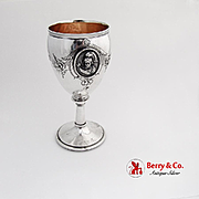 Repousse Floral Double Medallion Goblet Gilt Interior Coin Silver 1870