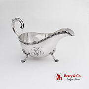 Ornate Gravy Boat Applied Rim Scroll Handle Figural Feet Sterling Silver 1900