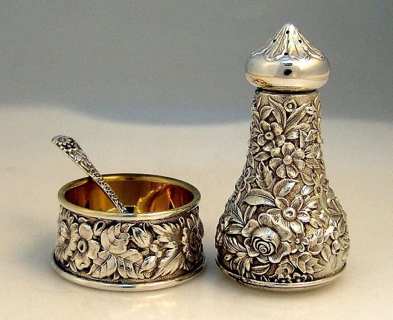 Repousse Open Salt Pepper Shaker  and Spoon Kirk & Son 1940 Sterling Silver