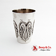 Ornate Julep Cup Beaker Applied Chased Decorations Sterling Silver