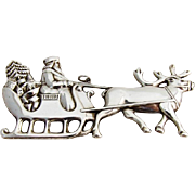 Gorham Santa In The Sleigh Christmas Ornament Sterling Silver 1978