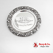 Womens Golf Trophy Bread Plate Repousse Floral Border International Sterling Silver 1939