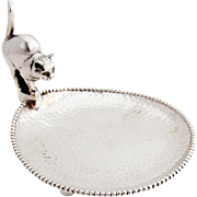 Scandinavian Hammered Beaded Dish Figural Cat Handle 830 Silver 1930