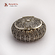 Small Oval Filigree Box Gilt Interior Sterling Silver 1900s
