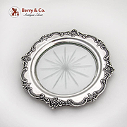 Floral Repousse Rim Cut Glass Coaster Sterling Silver 1940