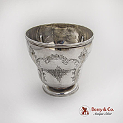 Large Engraved Footed Beaker Coin Silver 1850