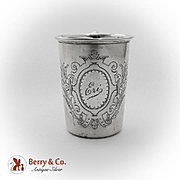 Vintage Engraved Cup Gilt Interior Continental 750 Standard Silver 1900