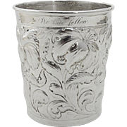 Ornate Repousse Floral Julep Cup Sterling Silver