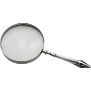 Vintage Floral Scroll Magnifying Glass T W Foster Bros Sterling Silver