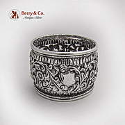 Indian Raj Openwork Floral Vine Napkin Ring Sterling Silver 1920