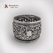 Indian Raj Openwork Floral Vine Napkin Ring Sterling Silver 1920