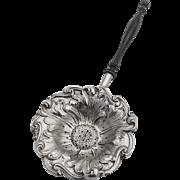 Art Nouveau Tea Strainer Flower Bowl Wooden Handle Watrous Sterling Silver