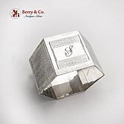 English Engine Turned Hexagonal Napkin Ring Sterling Silver 1932 Birmingham
