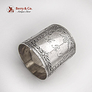 Aesthetic Wide Engraved Napkin Ring Sterling Silver 1875 Monogram