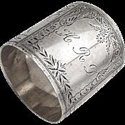 Aesthetic Wide Engraved Napkin Ring Sterling Silver 1875 Monogram