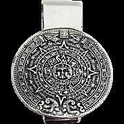 Aztec Calender Money Clip Sterling Silver 1970 Mexico