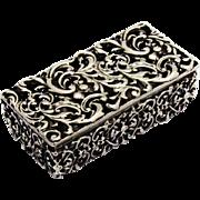 Open Work Scroll Foliate Stamp Box Shiebler Sterling Silver 1880