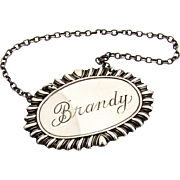 Gadroon Brandy Bottle Tag Label Sterling Silver 1940