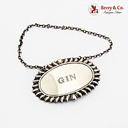 Gadroon Gin Bottle Tag Label Sterling Silver 1940