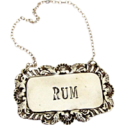Shell Foliate Rum Bottle Tag Label Cast Sterling Silver 1960
