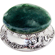 Tiffany Co Renaissance Revival Pincushion Jewelry Box Sterling Silver 1900s