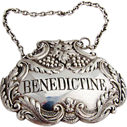 Repousse Scroll Grape Foliate Benedictine Bottle Tag Label Sterling Silver