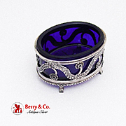 Floral Foliate Cut Work Open Salt Cobalt Glass Insert 800 Silver 1890