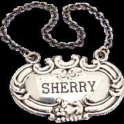 Vintage Sherry Bottle Tag Label Repousse Rim Sterling Silver 1950