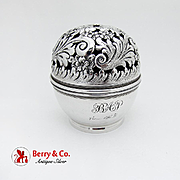 Repousse Floral String Thread Holder Ferdinand Fuchs Bros Sterling Silver 1890