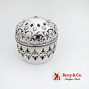 Repousse Belleflower Cut Work String Holder Beaded Rim Gorham Sterling Silver