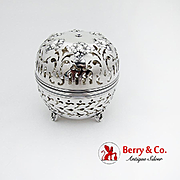 Repousse Floral Cut Work Thread Holder Ornate Feet Gorham Sterling Silver 1899