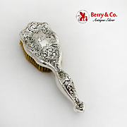 Arts And Crafts Acid Etched Floral Hair Brush Sterling Silver 1900 Mono