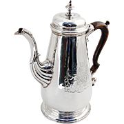 Jeremiah King Georgian Coffee Pot Double Crest Wooden Handle Sterling Silver London