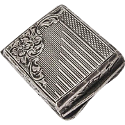 Art Nouveau Engraved Floral Pill Box 800 Silver 1900