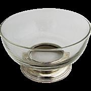 Vintage Small Serving Bowl Crystal Sterling Silver Base 1950