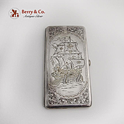 Japanese Large Cigarette Case Engraved Portuguese Galleon 950 Sterling Silver 1960