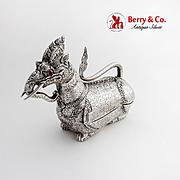 Southeast Asian Figural Betel Nut Box Fantastic Creature Ruby Eyes 900 Silver 1920