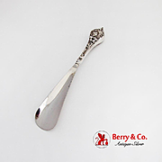 Art Nouveau Lady Floral Shoe Horn Nickle Plated Steel Sterling Silver 1900