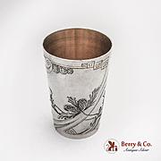 Art Nouveau Engraved Vodka Cup Gilt Interior Russian 84 Silver 1910