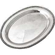 Vintage Oval Dresser Tray Gadroon Edge Sterling Silver