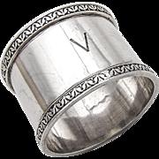 English Napkin Ring Ornate Border Sterling Silver 1946 London Mono