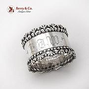 Ornate Openwork Border Napkin Ring Towle Sterling Silver Mono