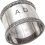 English Sterling Silver Napkin Ring Ornate Rim 1946 London Monogram
