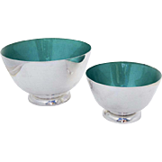 Mid Century Footed Bowls Pair Green Enamel Interior Towle Sterling Silver