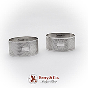 English Engine Turned Oval Napkin Rings Pair Sterling Silver 1953 Birmingham