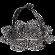 Vintage Small Ornate Filigree Basket Sterling Silver