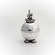 Lunt Figural Clown Coin Bank Silverplate 1970