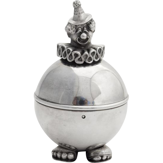 Lunt figural clown coin bank silverplate 1970 from for Transparent piggy bank money box